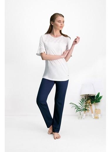 Pierre Cardin Pierre Cardin Krem Kadın Pantolon Bluz Takım Krem